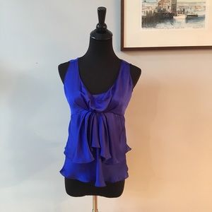 Giorgio Armani Purple Blue Silk Ruffled Blouse